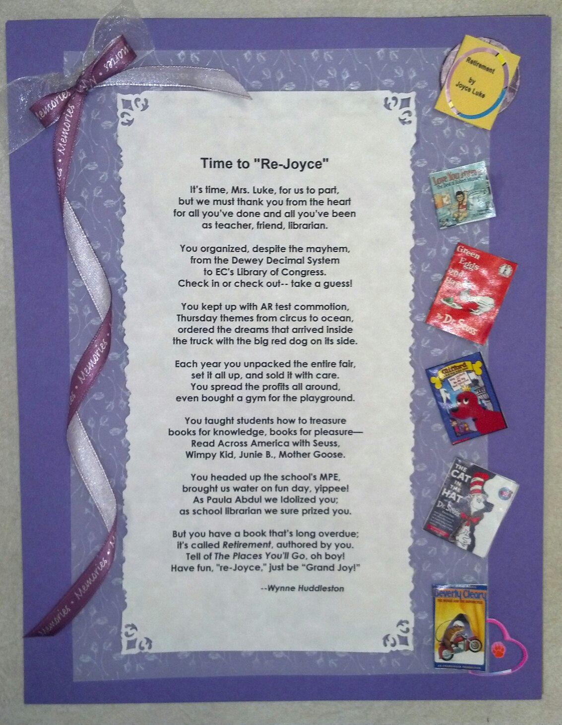 Retirement For Teachers Teacher retirement poem